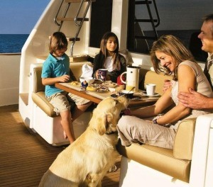 Family time on a yacht