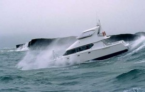 yacht rough waves