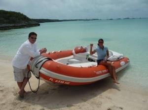 yacht tender on the beach