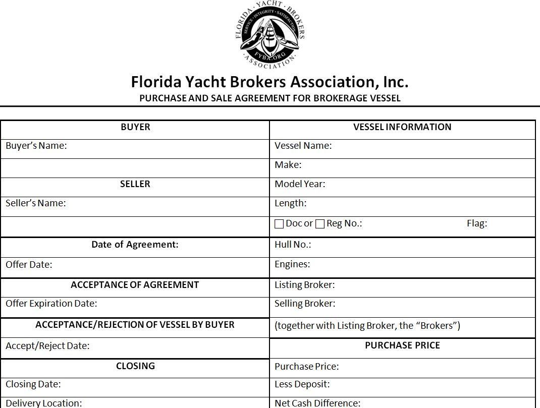 Florida Yacht Brokers Association Purchase Agreement Yachts For