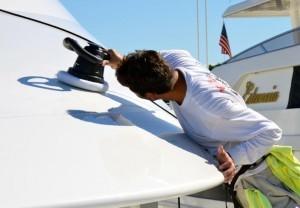 yacht maintenance includes regular waxing